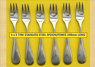 6 x 3 TINE STAINLESS STEEL FORKS – JAPAN. 190mm LONG...#