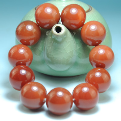 Collection China Pure Natural carnelian agate Handwork jade bracelet B02B