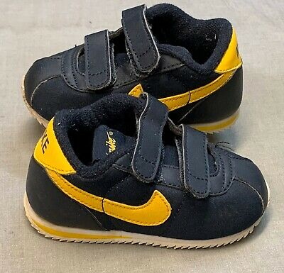 Nike US Size 4C Blue Yellow Trim Toddler Kids Shoes Sneakers Trainers