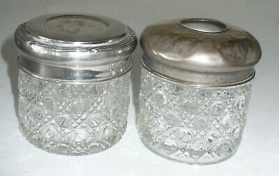 Two Vintage Cut Glass Containers with Silverplate Lids