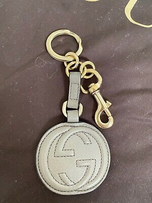 GUCCI Soho Key Chain Keyring Leather Grey (Buy My Whole Set!) Like New
