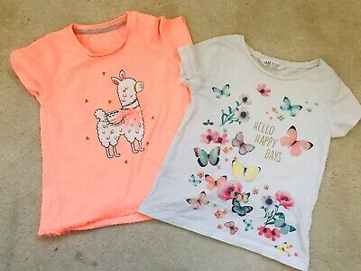 Girls Multi Butterfly And Llama T-shirt  Age 4-5 Years H&M And Matalan