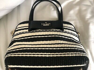 Kate Spade New York Women's Bag in Black/White Stripe With Bow
