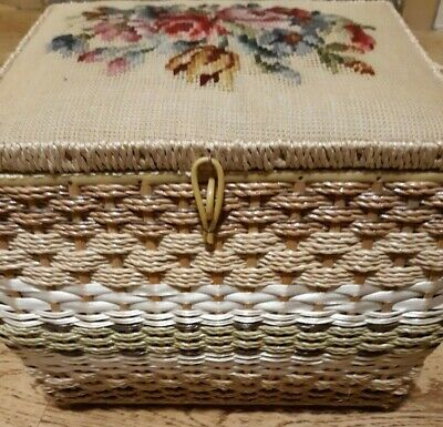 Vintage Wicker Sewing Basket With Handle JC Penney Japan Needlepoint Floral