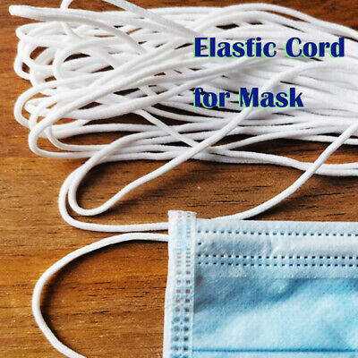 3mm Round Elastic Band Cord for Mouth Mask Crafts DIY Materials 10m Length White