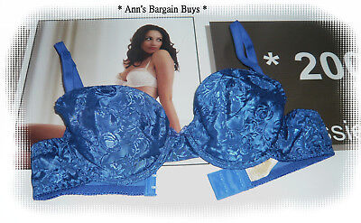 Ladies-Size-34/12B-Sexy-Floral Printed-Lightly-Padded-Under Wire Bra-Blue-NWOT