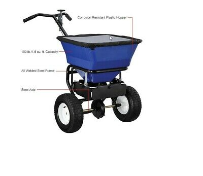 SPREADER Commercial - for Salt & Sand - 100 Lb Capacity - Push Type/Walk Behind