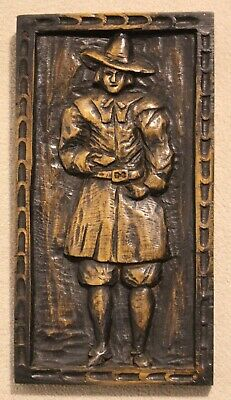 Carved Oak Pilgrim Wall Plaque. Early 20th Century.