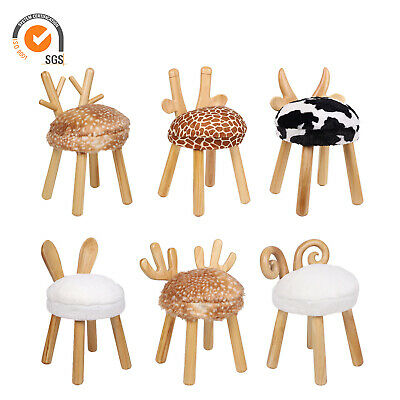 Animal Shape Kids Stools Gift Toy Wooden Round Removable Padded Seat Chair Room