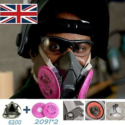 3M 6200+2091X2 Paint Dust Spray 3 in1 Half Face Reusable Filter