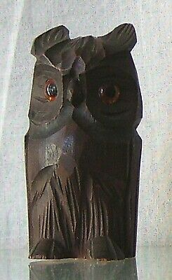 Glass Eyes Small Antique Carved Wood Owl