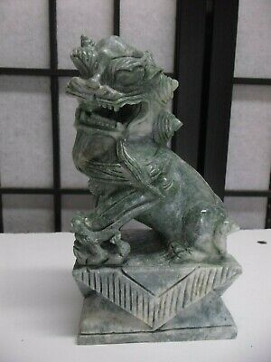 "Vintage 6"" Tall Ornately Hand Carved Stone Foo Dog Jade Color Green White"