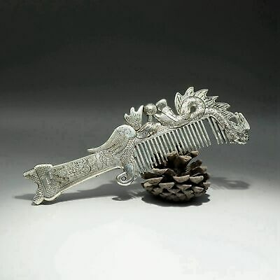 Collection China Old Miao Silver Hand-Carved Delicate Noble Dragon & Phenix Comb