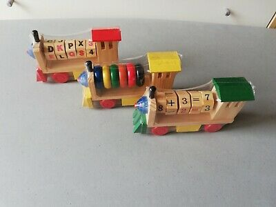 3 Red, yellow and green Wooden Train Set numbers, alphabets and colours