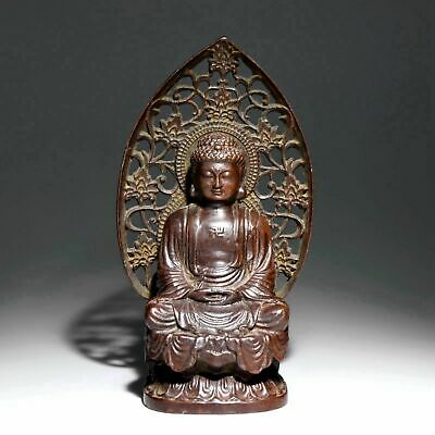 Collectable Antique Red Copper Hand-Carved Solemn Buddha Lotus Delicate Statue