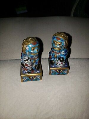 Antique Small Pair of Chinese Cloisonne Foo Dogs Figure on Stand