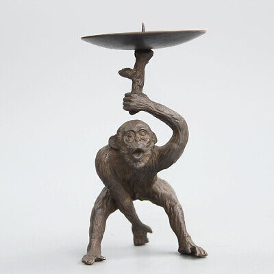 Collection Antique Bronze Carve Naughty Lovely Orangutan Statue Candlestick