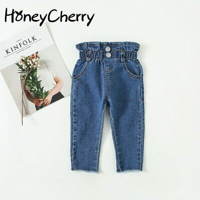 Girls High Waist Jeans Kids Pants Baby Solid Color Leggings Girl Pants Clothes