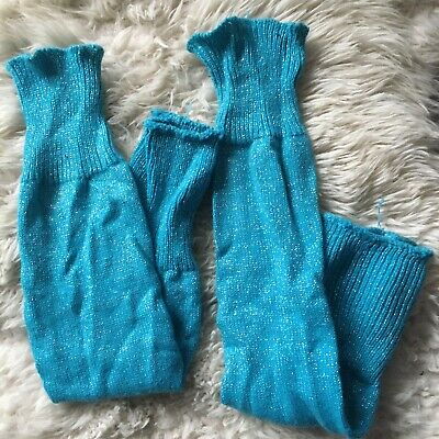 Aqua turquoise blue glittery leg warmers Worn twice Over the knee Dance fitness