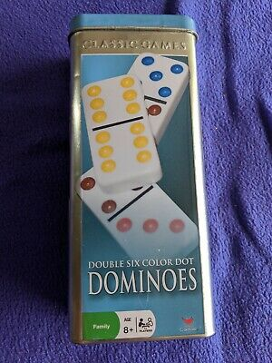 Cardinal Classic Games Dominoes Double Six Color Dot Tin