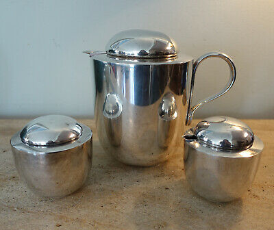Dansk mid century Silver Plate MCM Coffee Pot with Sugar And Creamer