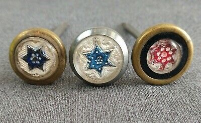 3 Victorian Sulfide Sandwich Type Glass Star Picture Nail Covers