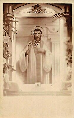 PICTURE OF A CATHOLIC SAINT HOLDING CRUCIFIX-1910s REAL PHOTO POSTCARD