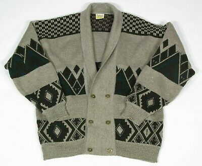 """Vintage 90s 48"""" Chest Oversize Aztec Geometric Double Breasted Grandpa Cardigan"""