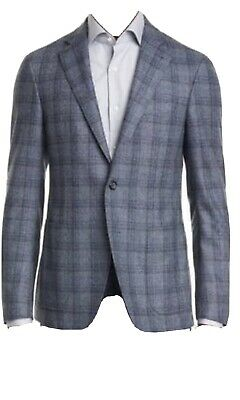 Canali Blue Check Wool Sport Coat Size 50R NWT $1595