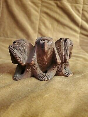 Hand Carved Wooden 3 Wise Monkeys