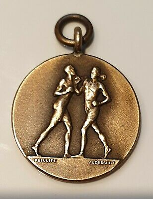 """VINTAGE  RARE 1940's """"The Royal Scots"""" BOXING FOB BRONZE MEDAL - COLLECTABLE"""