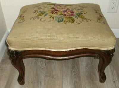Antique Louis Xv Style Country French Carved Wood Decorator Stool