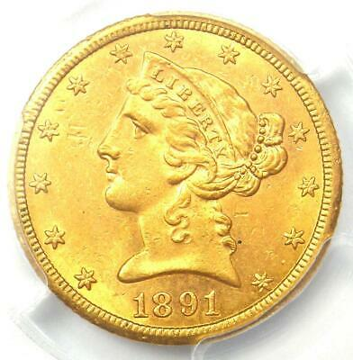 1891-CC Liberty Gold Half Eagle $5 Coin. PCGS UNC Detail (MS) - Rare Carson City
