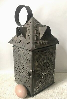 Rare AMERICAN SQUARE PIERCED TIN LANTERN w ROOF GABLES, c. Early 1800s