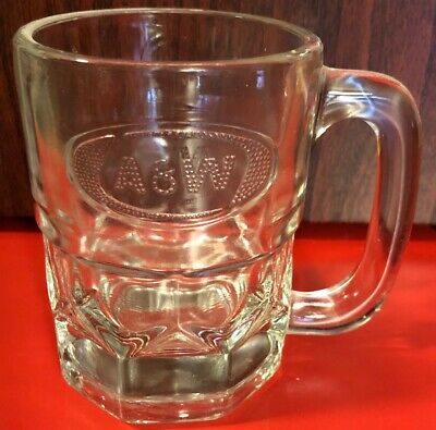 A&W Root Beer Mug Embossed Clear Thick Glass Heavy RARE