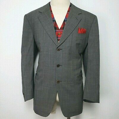 Canali Plaid Suit Blazer Jacket Coat Gray Wool Mens Recent 44R Italy Smoking Mad