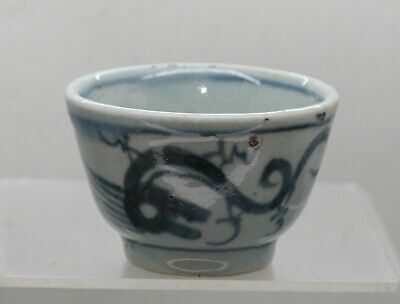 Antique Chinese Provincial Hand Painted Blue & White Porcelain Teacup c1700s