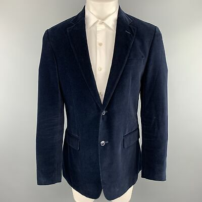 VALENTINO Size 40 Navy Cotton Velvet Notch Lapel Sport Coat