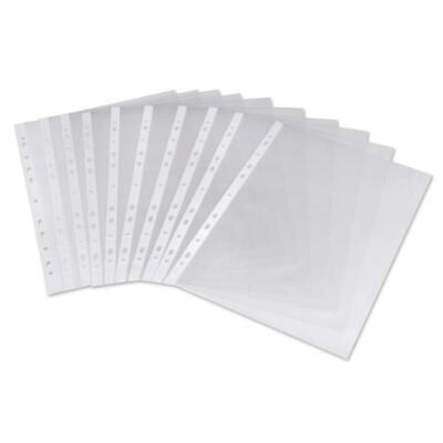 A4 Clear Plastic Punched Pockets Folders Paper Wallets Sleeves Files Open Top w