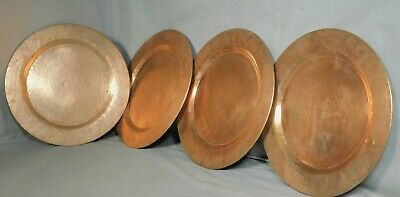 """4 Vintage hand Hammered handmade Solid Copper Metal Chargers Plates HEAVY 11.75"""""""