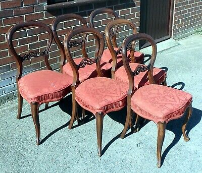 Set 6 Victorian antique French style solid mahogany balloon back dining chairs