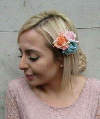 Triple Nude Pink Peach Turquoise Flower Hair Clip Fascinator Rose Floral 0187