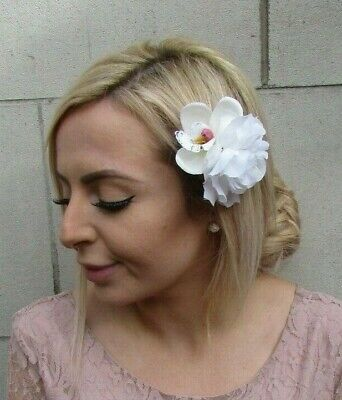 Ivory Cream & White Orchid Peony Double Flower Hair Clip Fascinator Floral 0188