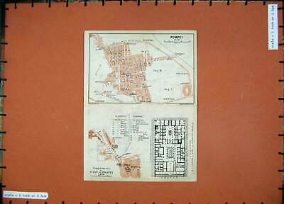 Original Old Antique Print 1912 Colour Map Italy Rome Pompei Piano Street Plan