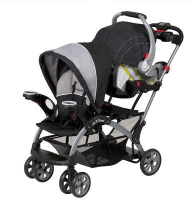Ultra Stroller Infant Seat Front/Rear Stand Basket Cup Holders Shade Black/Gray