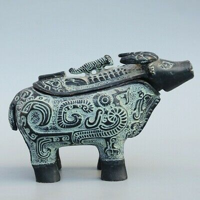 Collectable China Old Bronze Hand-Carve Lovely Sheep Delicate Unique Storage Jar