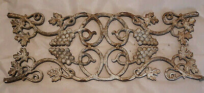 Vtg Wrought Iron Decor Architectural Salvage panel Grape Cluster Vine Leaves 27""