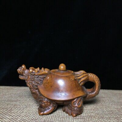 Collectable China Old Boxwood Hand-Carved Myth Dragon Turtle Luck Tea Pot Statue