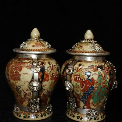 Collect Old Miao Silver Armour Japan Samoyed Burn Paint Belle Noble Storage Pot