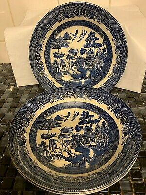 """Set Of 3 Ringtons Bone China Dishes """"Blue Willow Pattern Design"""" Boxed"""